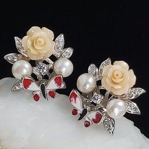 Floral Solid Sterling Silver 925 Earrings Pearls